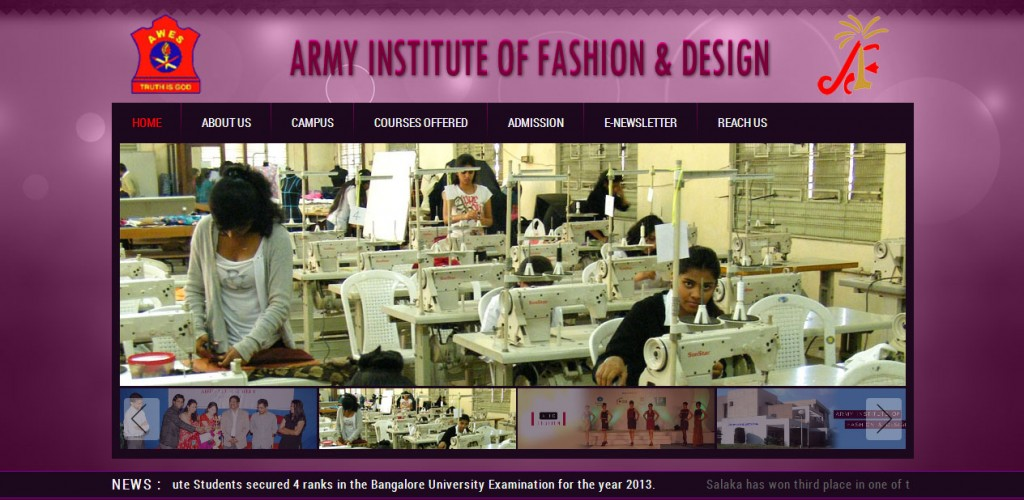 Army Institute Of Fashion And Design Dot Angle Web Designing And Development Company Mysore